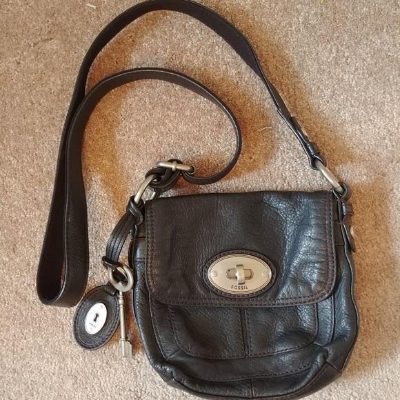 3fc6663d4af Fossil Handbags - Fossil Small Maddox Flap Black Leather Crossbody